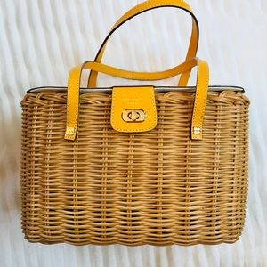 Rare Kate Spade Wicker Bag Mustard Yellow Top $350